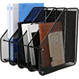 VeleSolv File Rack, 4-Slot Mesh Metal Magazines File Desk Organizer - Black Holder
