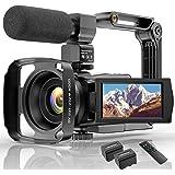 """Videocámara 4K WiFi Cámara Digital UHD Vlogging Youtube Cámara,IR Visión Nocturna 48MP 3.0""""IPS Pantalla Táctil Giratoria De 2"""