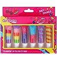 Girlzone Cadeau Fille - Gloss Fille - Maquillage Enfant - 6 Tubes Baume à Lèvres Saveur aux Fruits - Rouge à Lèvre Enfant - B