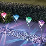 4 X Solar Lights Garden LED Colour Changing Diamond Solar Lights for Garden, Patio, Yard, Flowerbed, Parties