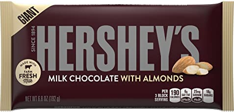 Hershey's Milk Chocolate and Almonds Giant Bar, Package contents, 192gm (AM062)