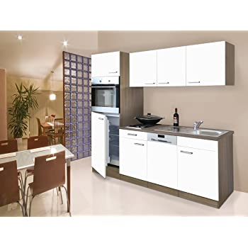respekta einbau single k che k chenblock k chenzeile 205 cm eiche york wei ceran. Black Bedroom Furniture Sets. Home Design Ideas