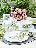 LaOpala Trinity Green Opalware Dinner Set (White) -Set of 35 Pieces