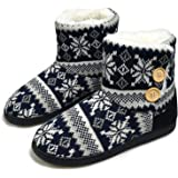 AONEGOLD® Pantofole da Donna Uomo Invernali a Maglia Calde Peluche Memory Foam Stivaletto Comode Morbido Antiscivolo Pantofol
