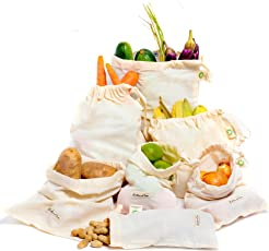 Set mit 7 Beuteln aus organischer Baumwolle für Obst und Gemüse - Früchtebeutel, Gemüsebeutel, Spielzeugbeutel, Obst- und Gemüsebeutel für Männer, Frauen und Kinder, für Sportausrüstung, Wäsche, Reisen, Organisation, Lagerung zuhause, Lebensmitteleinkauf & Lagerung von Obst, Gemüse & Gartenerzeugnisse - Umweltfreundlich - Wiederverwendbare Taschen für Obst und Gemüse, 100 % Bio-Baumwolle. Universal einsetzbar. Waschbar, strapazierfähig, umweltfreundlich, faltbar.