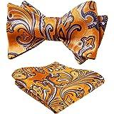 HISDERN Papillon da Uomo Floreale Paisley e Tasca Quadrata, Cravatta a Farfalla e Set di Accessori per Fazzoletti per Feste d