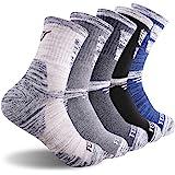 FEIDEER Men's Hiking Walking Socks, Multi-pack Wicking Cushioned Outdoor Recreation Crew Socks