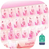 Pink Butterfly Theme&Emoji Keyboard