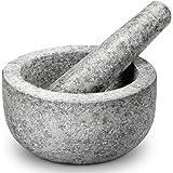 Tera Mortier et Pilon en Granit Naturel non poli en Pierre Massif Diamètre-16cm Facile à Nettoyer pour Épices Cuisine