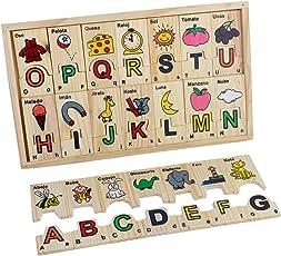 Wooden Puzzle ABC Wooden Spanish Alphabet Puzzle Blocks (Brown)
