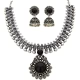 Yellow Chimes Exclusive Antique Design Vintage Oxidised Silver Kolhapuri Stone Choker Necklace Set with Jhumka Earrings for W