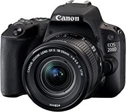 Canon EOS 200D Digitale Spiegelreflexkamera (24,2 Megapixel, 7,7 cm (3 Zoll) Display, APS-C CMOS-Sensor, WLAN mit NFC, Full-HD, DIGIC 7) schwarz  inkl 18-55mm 1:4,0-5,6 IS STM Objektiv