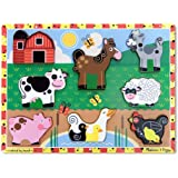 Melissa & Doug Farm Chunky Puzzle | Pussel | Träleksak | 2 | Present till pojke eller flicka