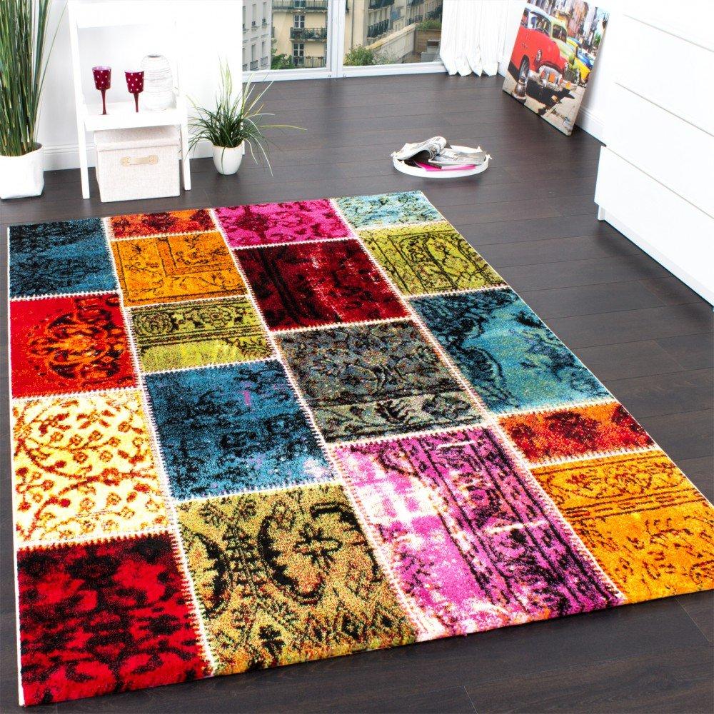 Teppich bunt modern  Teppich Modern Designer Teppich Patchwork Vintage Multicolour Grün ...