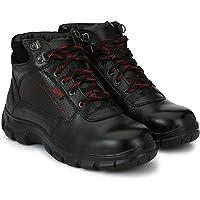 MANSLAM Black Leather Steel Toe Safety Shoes -6