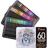 60 Penne Colorate Punta Fine Zenacolor - 60 Colori Unici 0.4mm - Ideali per i Mandala per Adulti