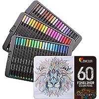 60 Feutres Coloriage Pointe Fine Zenacolor - 60 Couleurs Uniques - Stylo Feutre Coloriage 0.4mm - Idéal pour Mandala…