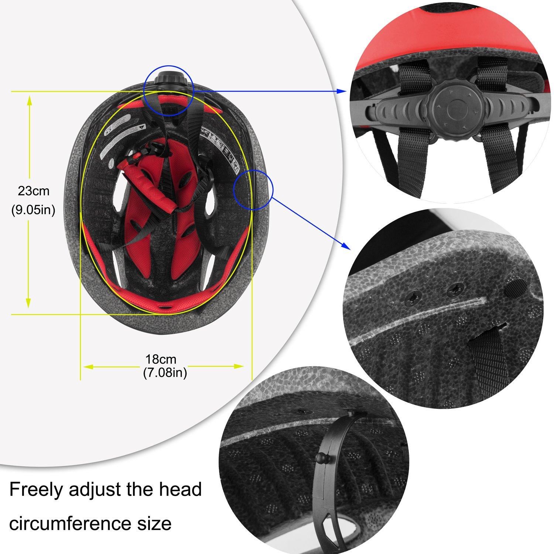 Casco Bicicleta con LED Kinglead Protecci/ón de Seguridad Ajustable Casco de Bicicleta Ligera para Montar en Bicicleta Casco de Bicicleta BMX Scooter Skate Mountain Road