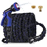 """100ft Garden Hose , Expandable Garden Hose Pipe with 9 Function Spray Nozzle 3/4"""",1/2"""" Solid Brass Fittings ,Expanding Magic"""