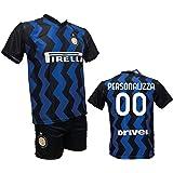 Completo Calcio Maglia Inter Personalizzabile + Pantaloncino Replica Autorizzata 2020-2021 Bambino (Taglie 2 4 6 8 10 12) Adu