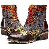 Camfosy kvinnor läder ankelstövlar handgjorda bohemiska blommönster trosor för damer låga blockklackar snörning promenadskor