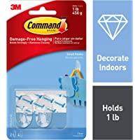 Command Small Hooks,Transparent, Holds 225 gm, (2 Hooks, 4 Strips),No Drilling, Holds Strong, No Wall Damage