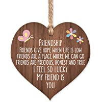 I'm lucky my friend is you | best friends wooden hanging heart | sentimental inspirational gift for cheer up women…