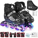 Verstelbare inline skates met verlichte wielen, skates, outdoorskates voor kinderen, jongens, meisjes en dames.