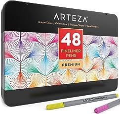 Arteza Fineliner Stifte — Feine Filzstifte 0.4mm Spitze — 48 Feinstifte in Metallbox
