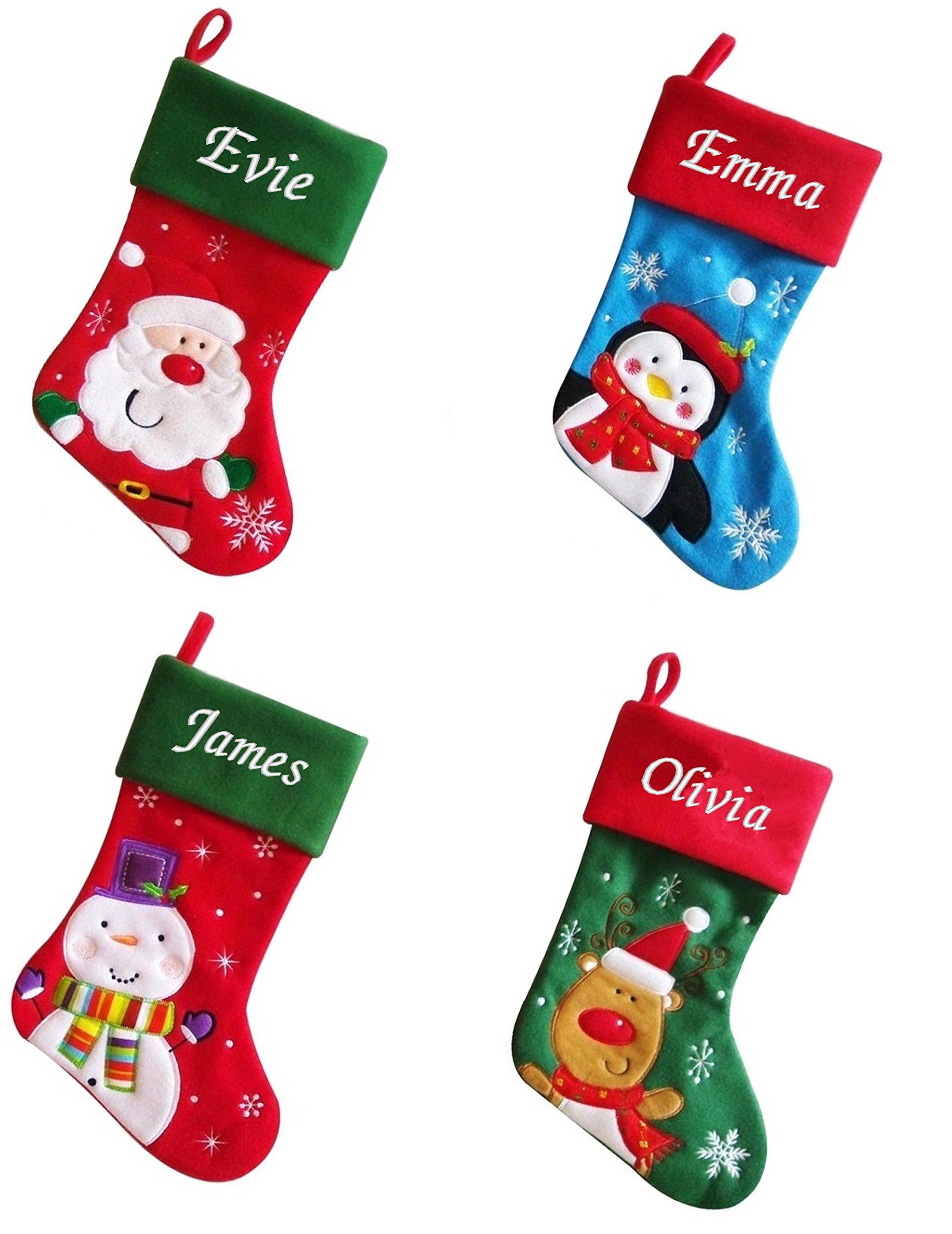 Embroidered Christmas Stockings.Luxury Deluxe Personalised Embroidered Christmas Santa Penguin Snowman Reindeer Xmas Stocking