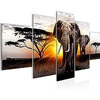 Peinture Afrique L'Éléphant 5 Parties Impression sur Toile Intissee Decotacion Salon Panorama Gris Orange 007652a