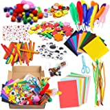 Akshar Art N Craft Jhintemetic DIY Art Craft Kit for Kids Creative Pompoms Pipe Cleaners Feather Foam Flowers Letters Crystal