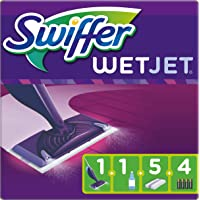 Swiffer WetJet Balai Spray, Kit complet 1 Balai Spray + 5 Lingettes + 1 Solution Nettoyante Liquide + 4 Piles
