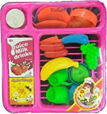Blossom Funny Food Play Set (19 Pcs) Toy with Sipper, Cups, Plates, Banana etc. for Kids, Multi Color