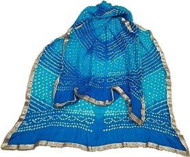 M.D.Sales Jaipuri Art Silk Bandhani Bhandej Dupatta with gota patti Border