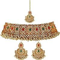 Shining Diva Fashion Latest Stylish Traditional Pearl Kundan Choker Necklace Jewellery Set for Women