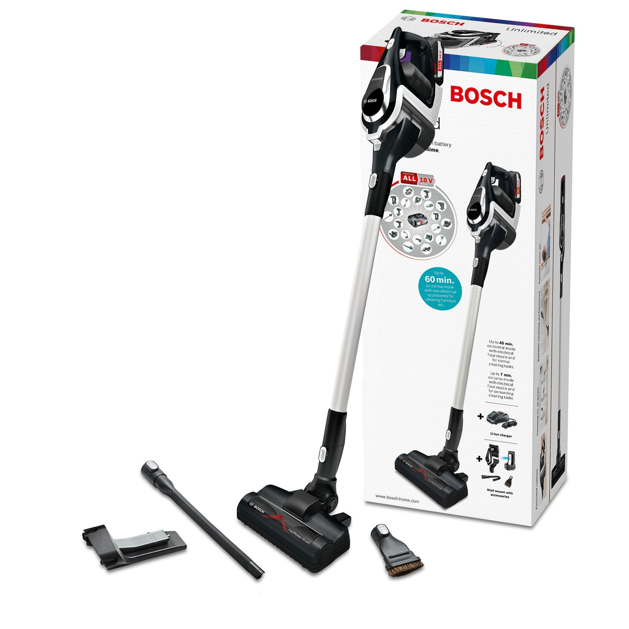 Bosch BBS1114 Unlimited kabelloser Staubsauger (Akku austauschbar), Schwarz & BHZUB1830 Wechselakku (geeignet für den…