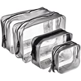 4 Pieces Clear PVC Zippered Toiletry Carry Pouch Waterproof Cosmetic Makeup Bag Toiletry Organizer Case, Multi-sizes (Transparent)