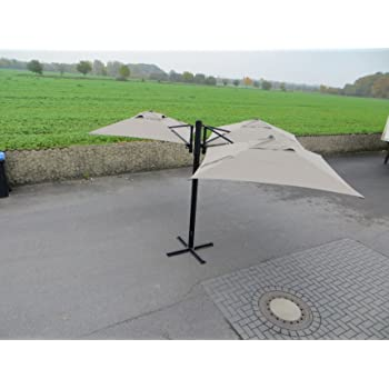 "Madison Gastronomie Gartenschirm ""Murano III"" mit drei separat verstellbaren Schirmen in taupe, UV-Schutz 40 Plus"