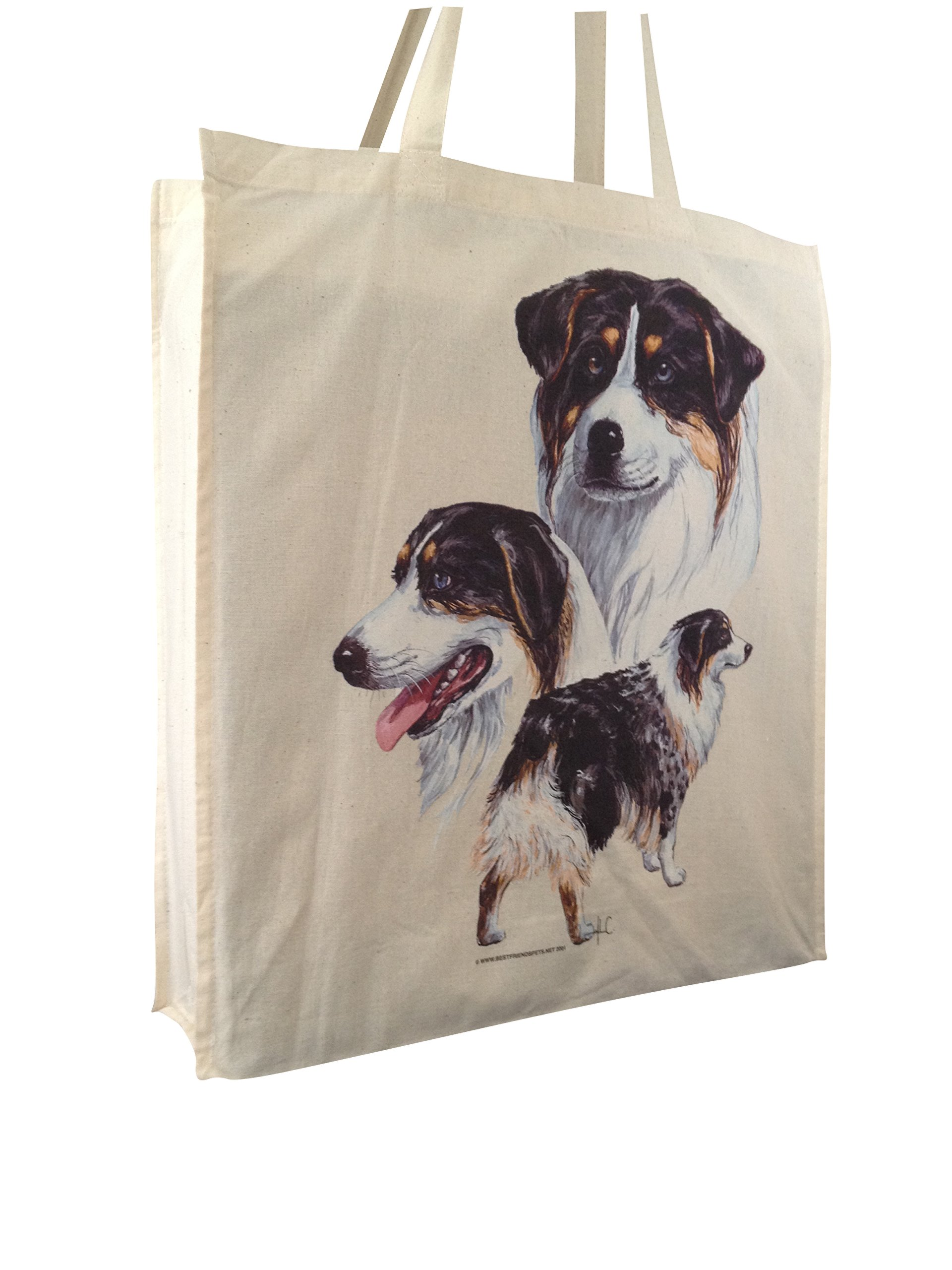 Australian Shepherd Group Reusable Cotton Shopping Bag Tote with Spacious Gusset and Shoulder Length Handles Perfect…