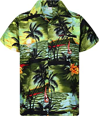 V.H.O. Funky Hawaiian Shirt | Men | XS-12XL | Short-Sleeve | Front-Pocket | Hawaiian-Print | Surf Palms Summer | Turquoise