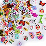 AONER 100 pz Bottoni Animali Legno Assortiti per Decorazioni Cucito Fai da Te Scrapbooking Artigianato Bricolage