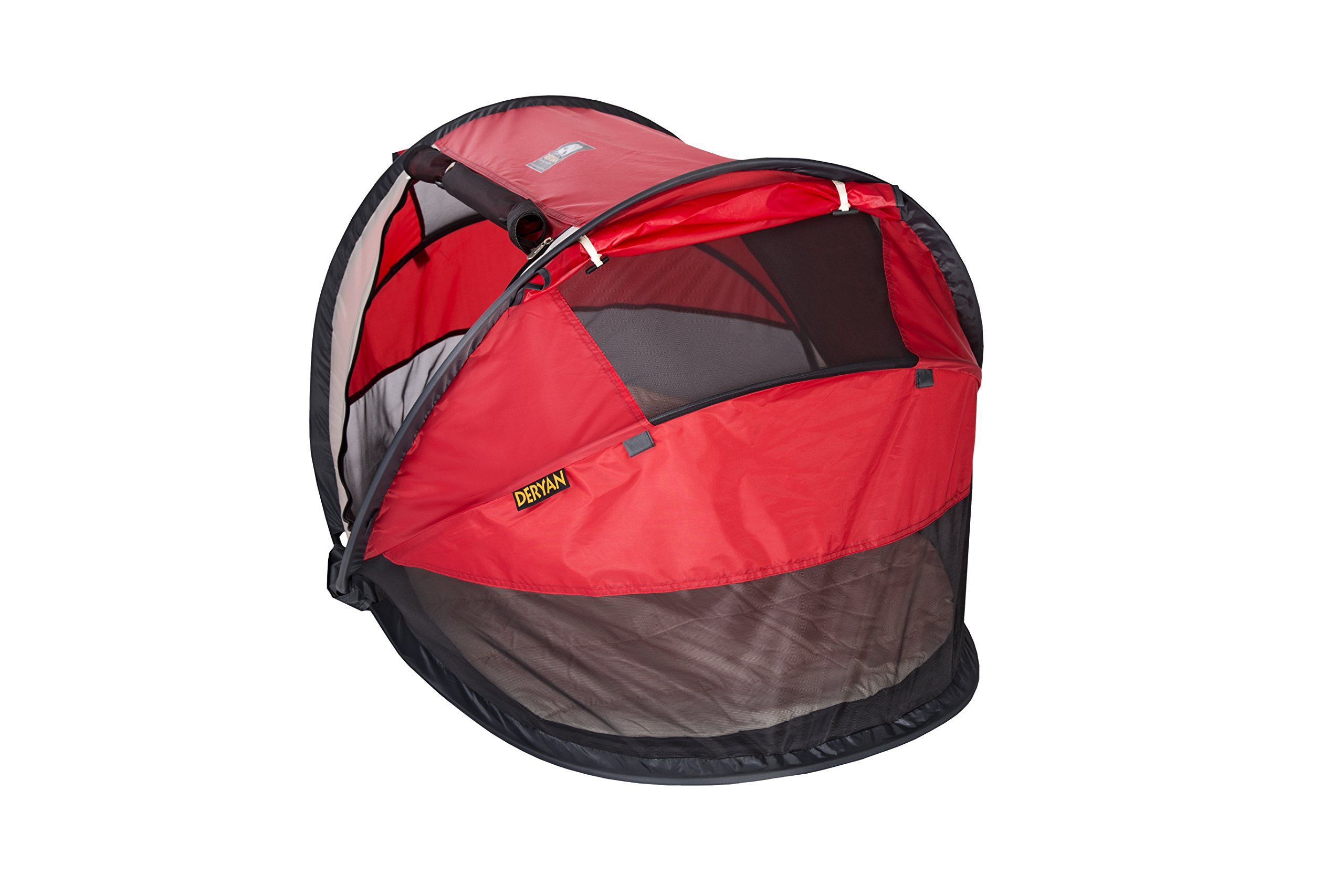 Travel Cot Peuter Luxe (Red) Deryan Perfect for the beach, the park or the back garden for playing in or for naps Can Pops up immediately, no poles or fiddly frames to put together. Lightweight and compact in its zip up bag 4