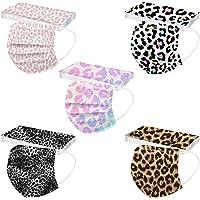 50PC,Adult Disposable Face Bandanas Thanksgiving Face,Breathable,Leopard Print Facial _Masks,Safety,Cloth Half Face…
