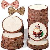 5ARTH Naturliga träskivor – 30 stycken 6–7 cm konst obehandlat träkit förborrade med hål träcirklar för konst träskivor julde