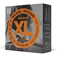 D'Addario Light Top/Heavy Bottom 10-52 Nickel Wound Electric Guitar Strings (10 Sets)