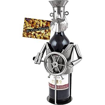 Brubaker Porte-Bouteille de vin - Capitaine - Métal - Carte de vœux Incluse - Idée Cadeau Originale - Objet décoratif