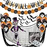 Halloween Decoratie XXL Set - Decoratie en Accessoires voor Griezelig Partij en Tuin - Garland, Vleermuizen 3D, Pompoenen Wim