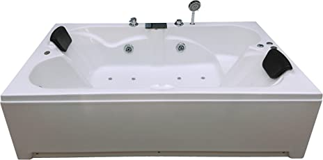 MADONNA Acrylic Tub with Jacuzzi Massage, Bubble Bath and Filler System (White, 13725)