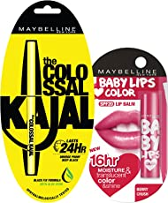 Maybelline New York Colossal Kajal, 0.35g and Baby Lips Love Color, 4g, Berry Crush (at 20% off)